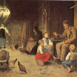The Grandfather tells a story, by Albert Anker, ca. 1884.