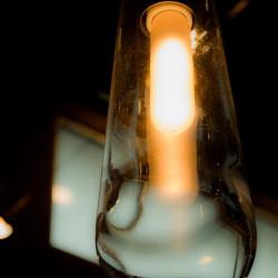 A glowing light bulb